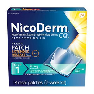 NicoDerm CQ is one of the nicotine replacement therapies and is a nicotine patch that sticks directly onto the skin.